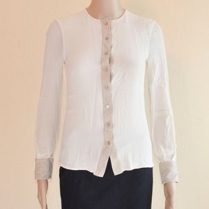AKRIS Cream & Beige Silk Crepe Button Up Blouse